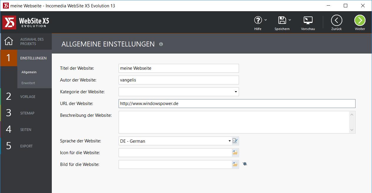 allgemeine einstallungen - WebSite X5 Evolution 13 ausprobiert - 5 Lizenzen zu gewinnen