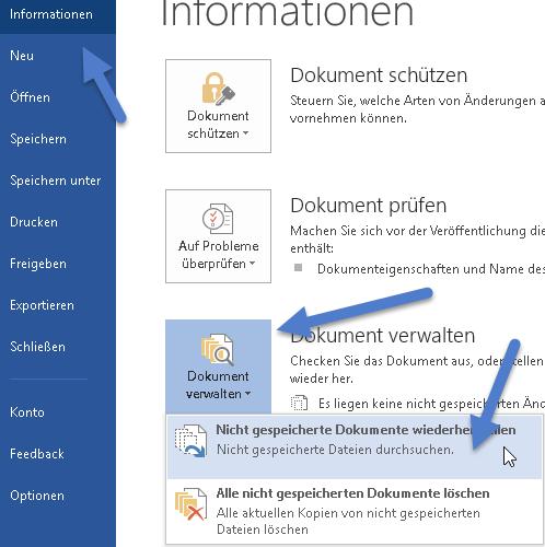 nicht gespeicherte dokumente wiederherstellen - Word - Nicht gespeicherte Dokumente wiederherstellen