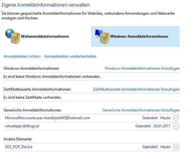 Windows 10 Anmeldeinformationsverwaltung
