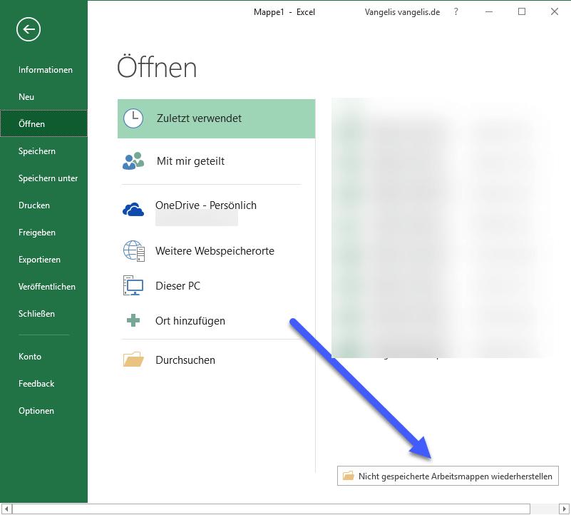 nicht gespeicherte arbeitsmappe wiederherstellen - Nicht gespeicherte Excel Datei wiederherstellen - so geht's