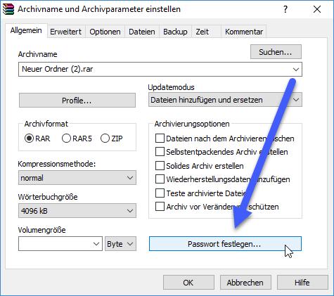 passwort festlegen - WinRar: Gepackte Datei mit Passwort versehen
