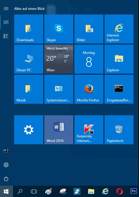 Bild von Windows 10 Apps im Startmenü deaktivieren