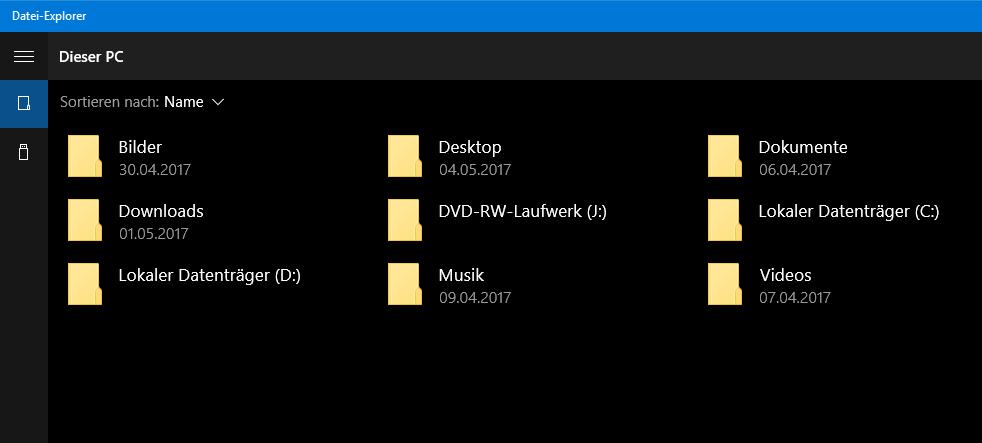 unbenannt - Windows 10 versteckter Datei Explorer