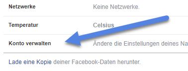 konto verwalten - Facebook Account löschen – Konto deaktivieren - so geht's