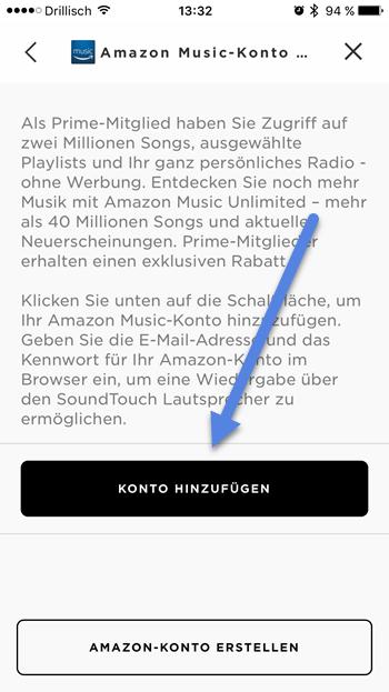konton hinzufuegen - Amazon Music auf Bose Streamen mit SoundTouch-App