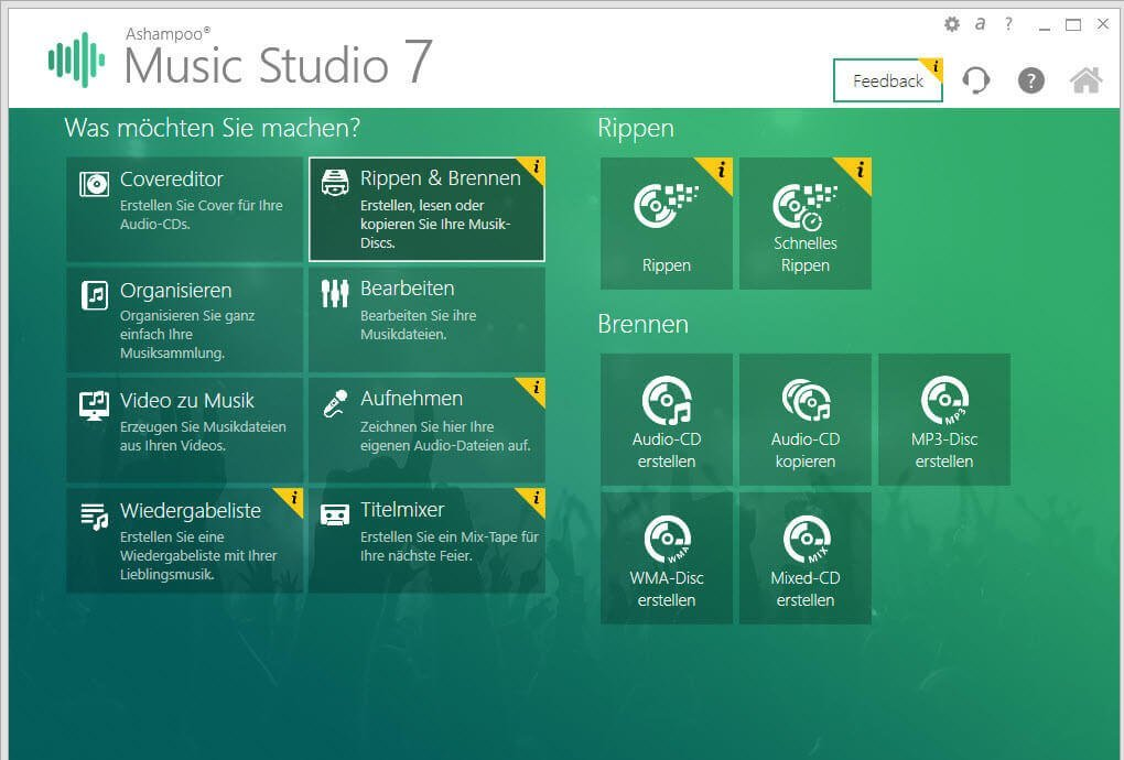 ashampoo music menue - Ashampoo Music Studio 7  – Die Soundzentrale für den PC