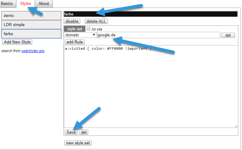 eine Farbe bei besuchten links Chrome Browser: andere Farbe für besuchte Links bei Google
