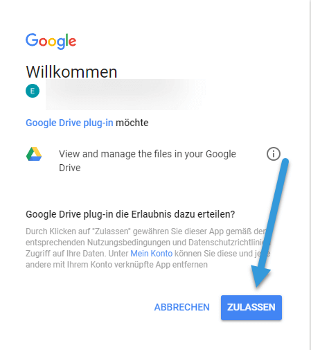 Google Drive Authentifizierungsseite google-drive-authentifizierungsseite