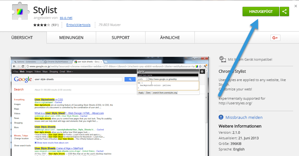 google Stylist Chrome Browser: andere Farbe für besuchte Links bei Google