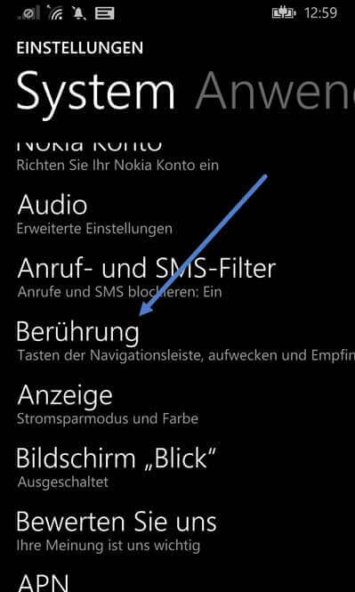 beruehrung - Doppel tippen aufs Display zum Aufwecken – Windows Phone