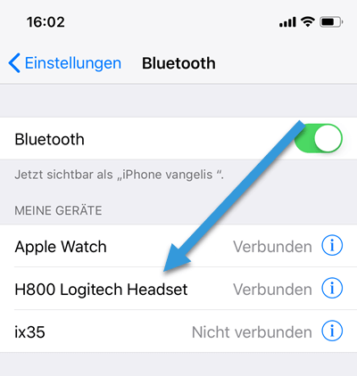 Logitech H800 Headset mit iphone verninden