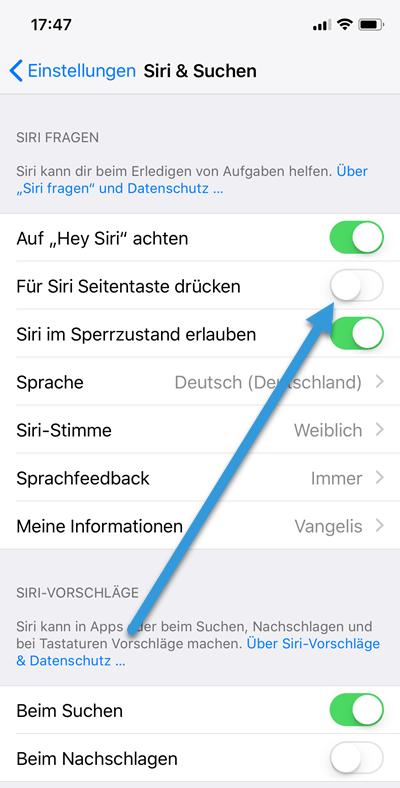 Siri Seitentaste aktivieren deaktivieren