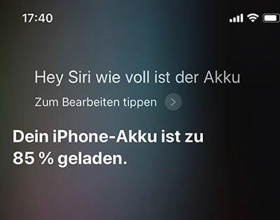 Siri wie voll ist der Akku