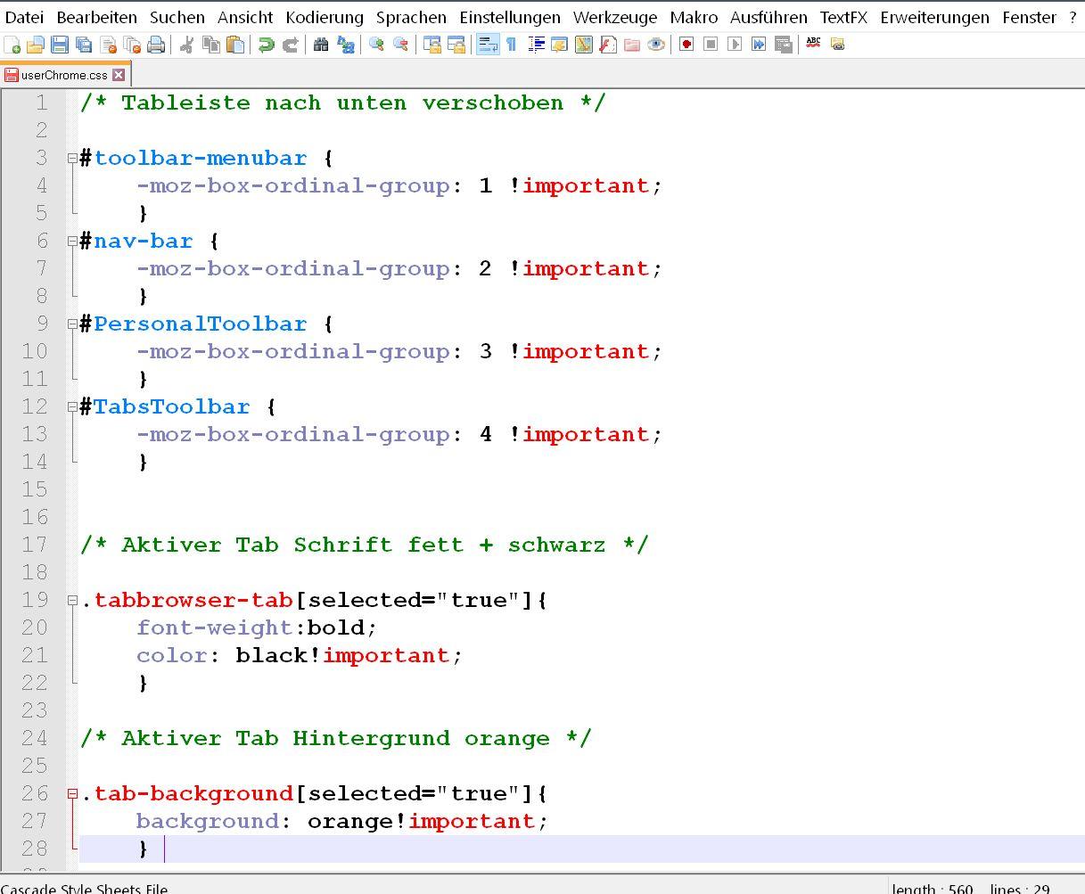2 codes untereinander - Firefox   dem aktiven Tab einen farblichen Hintergrund geben