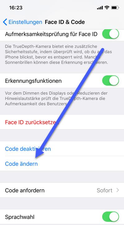 code aendern - Vierstelliger numerischer Code oder alphanumerischer Code beim iPhone oder iPad einrichten