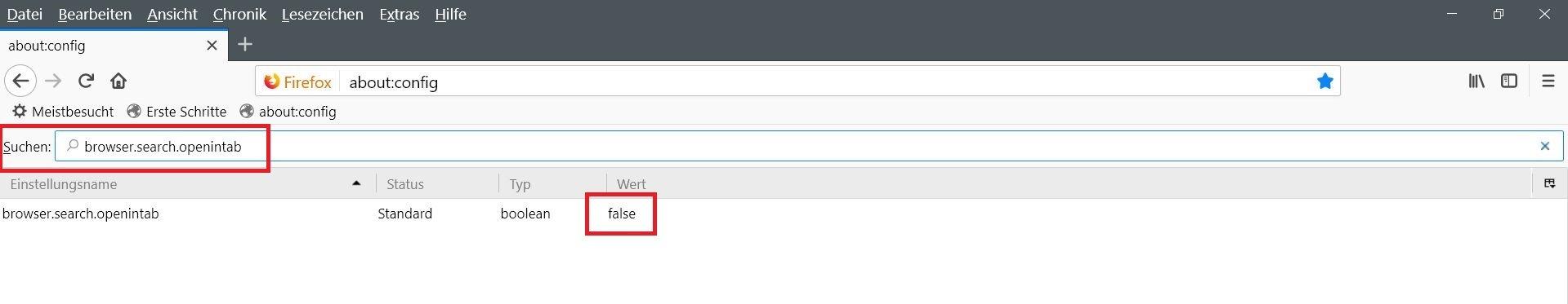 "config false - Firefox  ""Suche"" in neuem Tab öffnen"