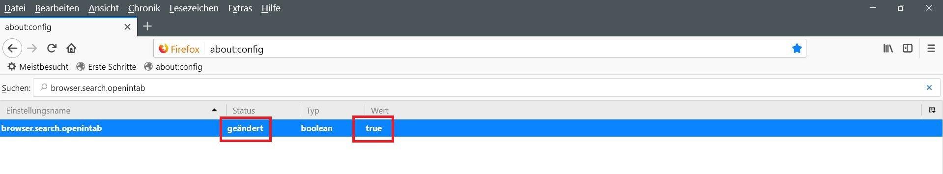 """config true - Firefox  """"Suche"""" in neuem Tab öffnen"""