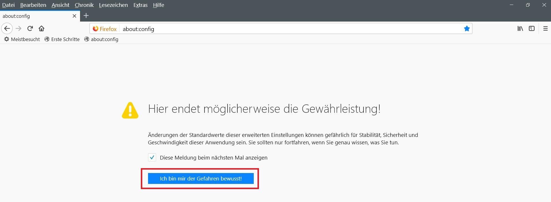 config warnung - Firefox Bei Sync anmelden entfernen