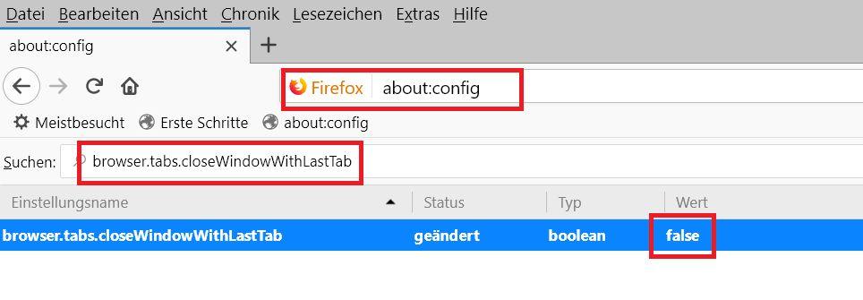 config wert geaendert - Firefox den letzten Tab nicht schließen