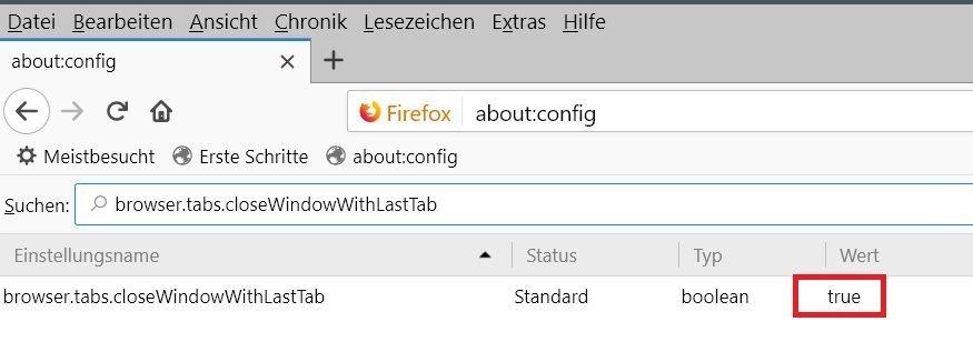 config wert standard - Firefox den letzten Tab nicht schließen
