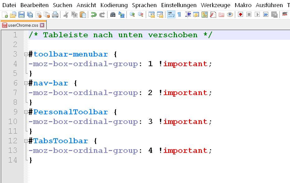 css code in der datei - Firefox  Menüleisten verschieben