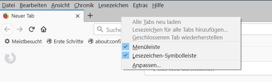 leisten entfernen beide - Firefox  Menüleisten verschieben