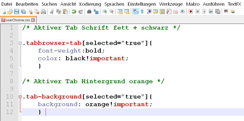 tab code - Firefox   dem aktiven Tab einen farblichen Hintergrund geben