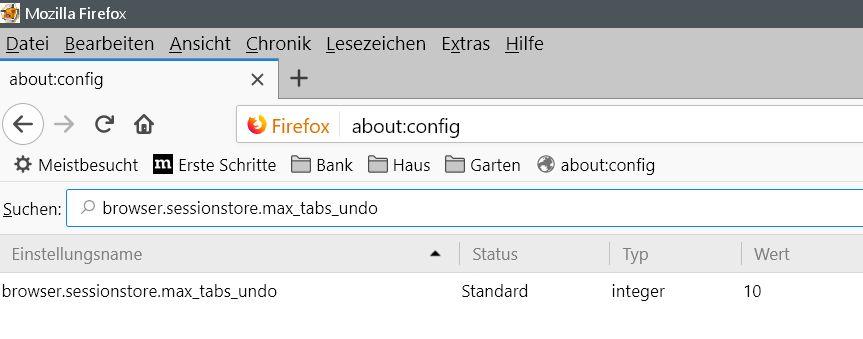 10 eintraege - Firefox Kürzlich geschlossene Tabs Vorschau erweitern oder deaktivieren