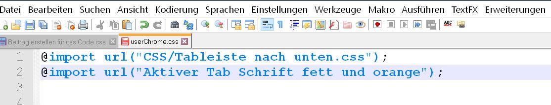 2te importregel - Firefox  userChrome.css aufräumen
