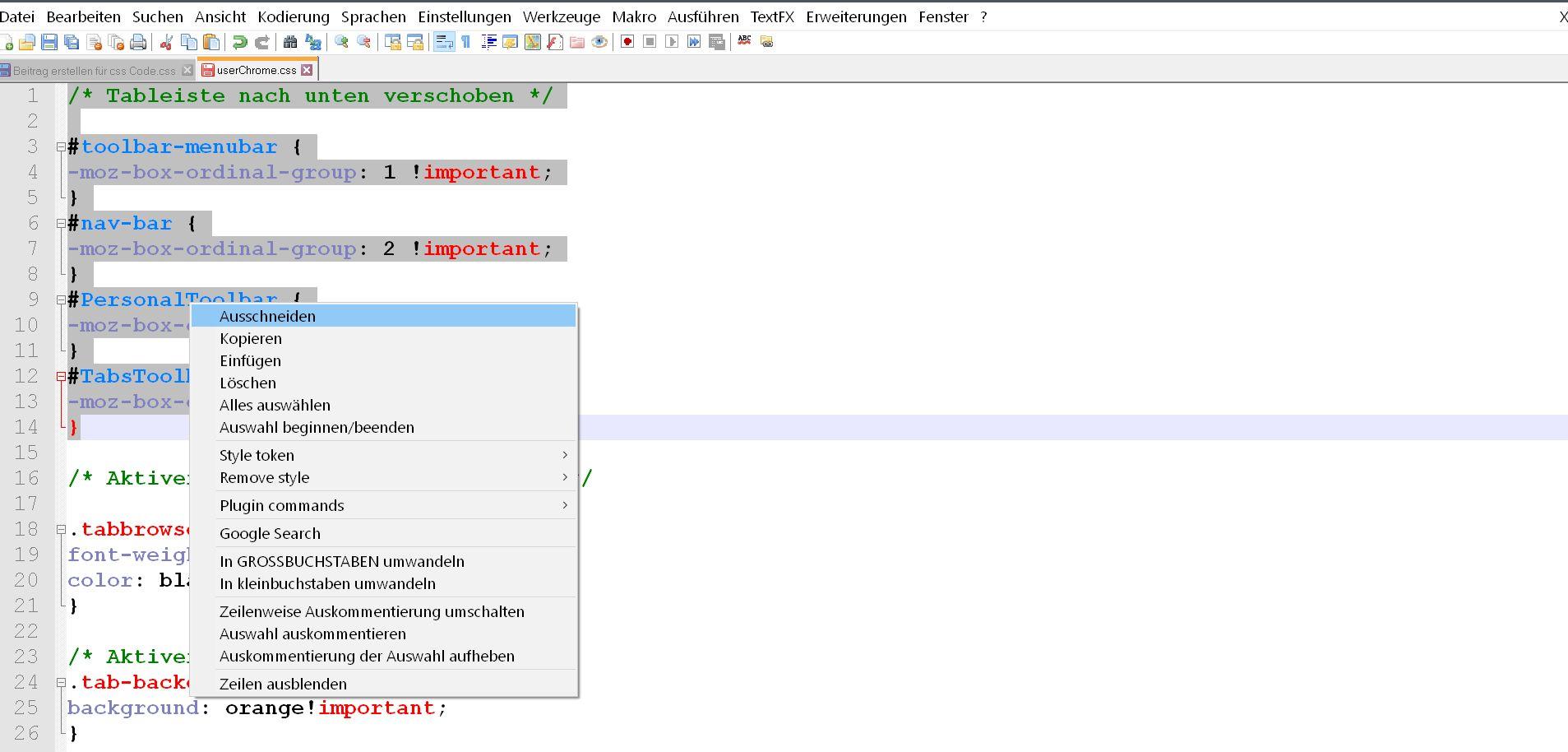 ausschneiden ersten code - Firefox  userChrome.css aufräumen