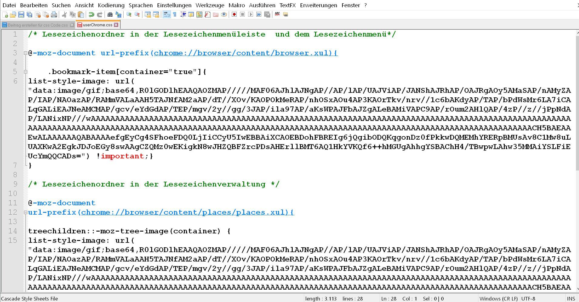 code in userchrome.css - Firefox Den Lesezeichenordnern ein anderes Icon vergeben