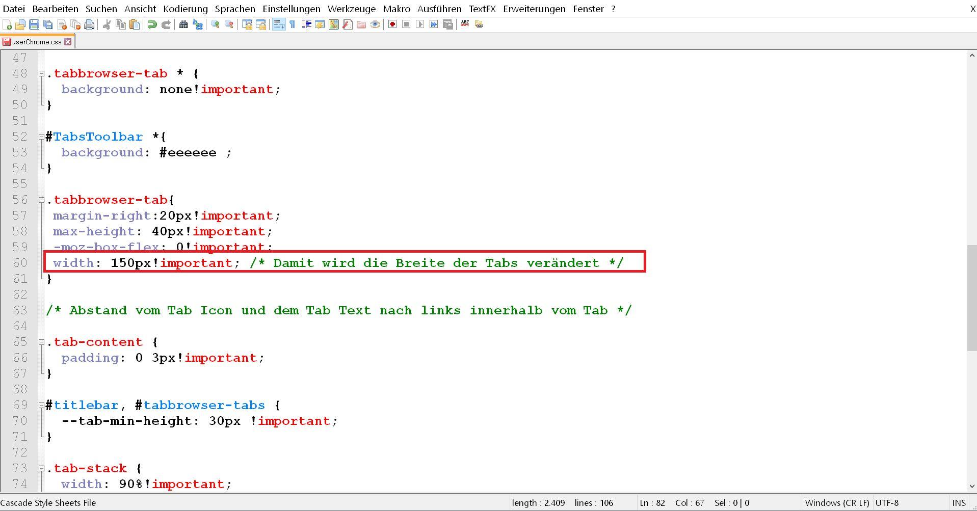 css code 2 - Firefox Mehrzeilige Tableiste