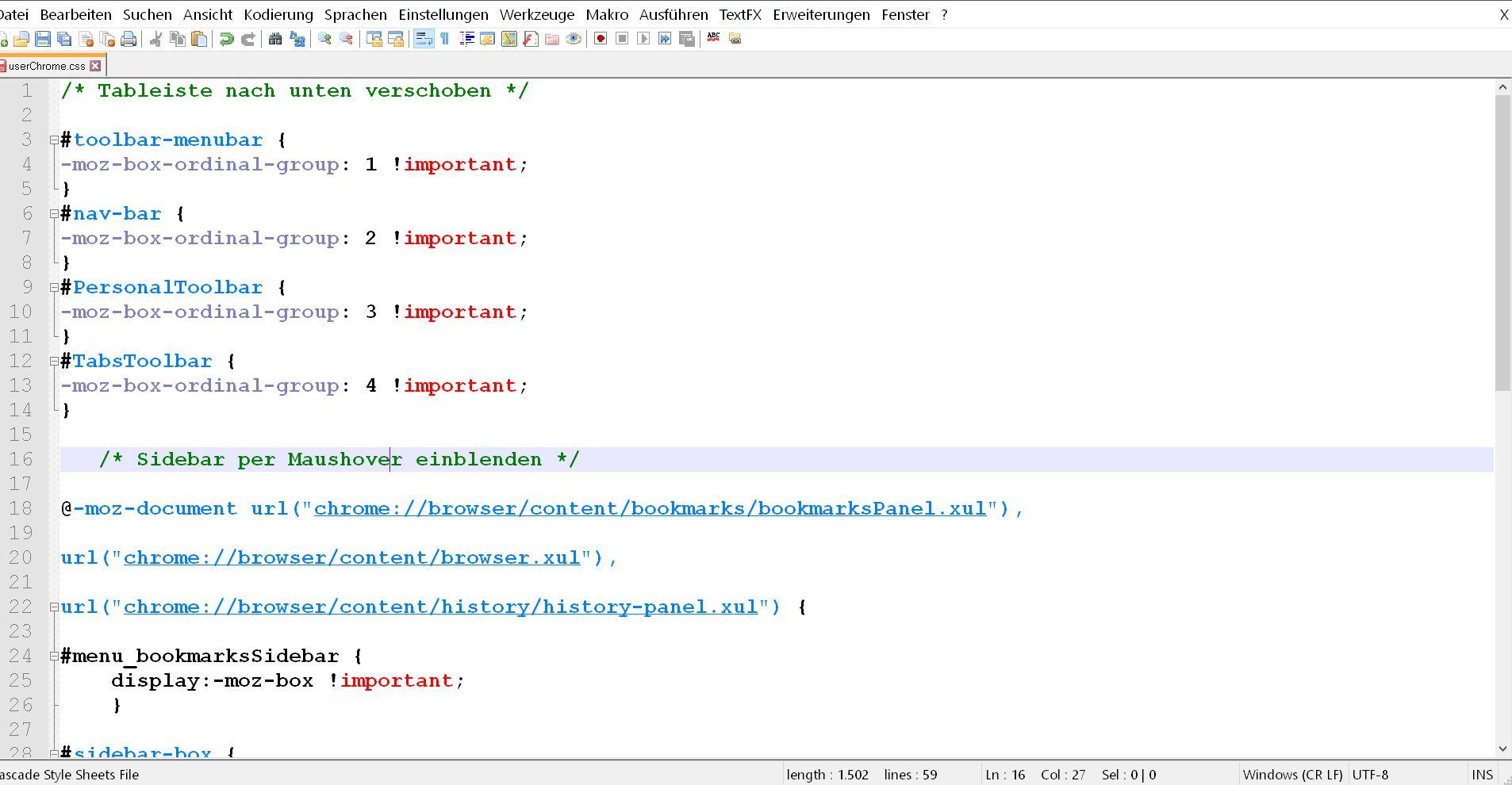 css code doppelt - Firefox  Sidebar per Maushover öffnen