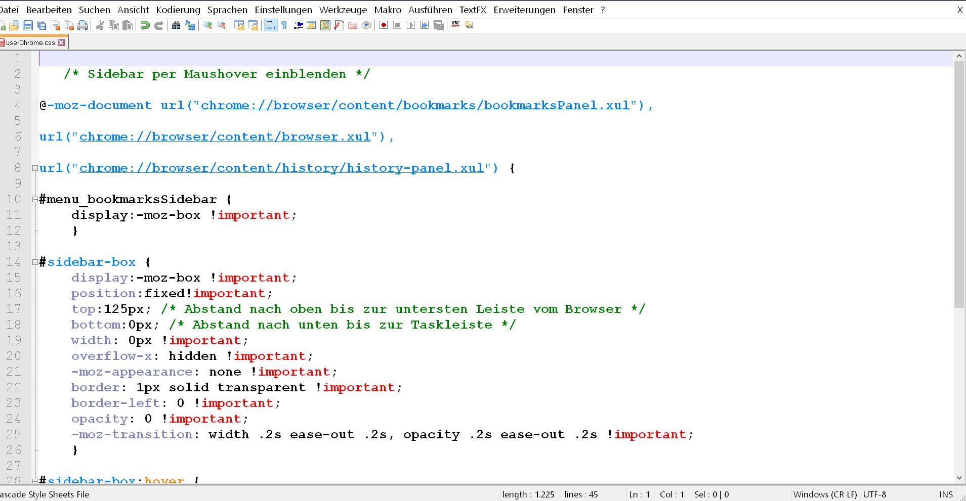 css code einzeln - Firefox  Sidebar per Maushover öffnen