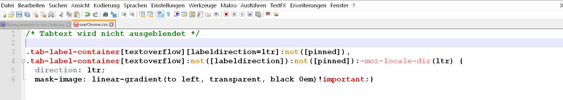 css code - Firefox Den Tabtext nicht ausblenden