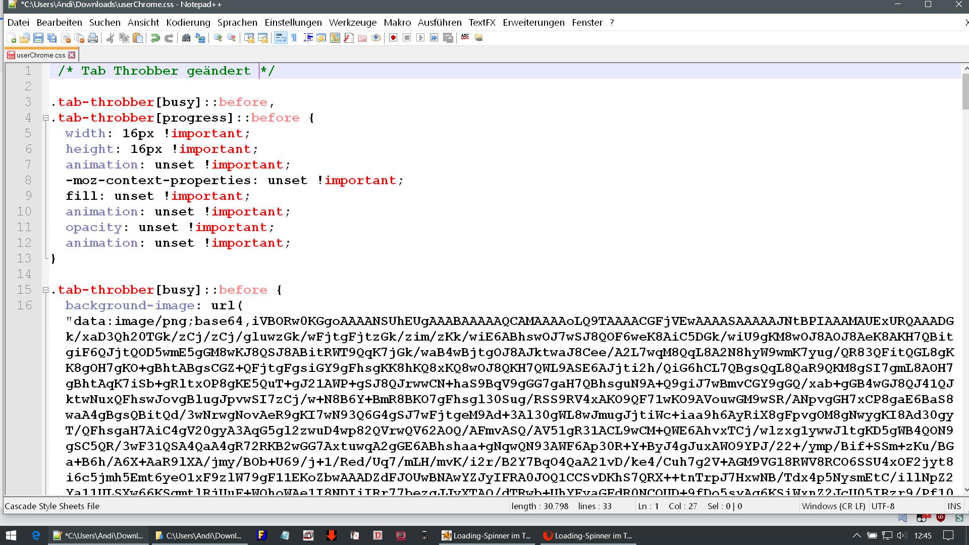 einzelner code - Firefox  Tab Throbber ändern