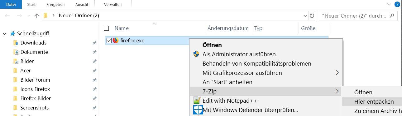 firefox exe entpacken - Batch Datei in eine .exe Datei umwandeln