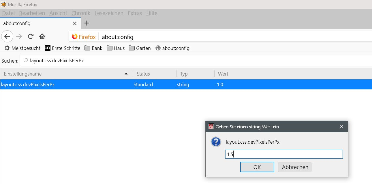 geaenderter wert - Firefox die gesamte Schrift im Firefox vergrößern