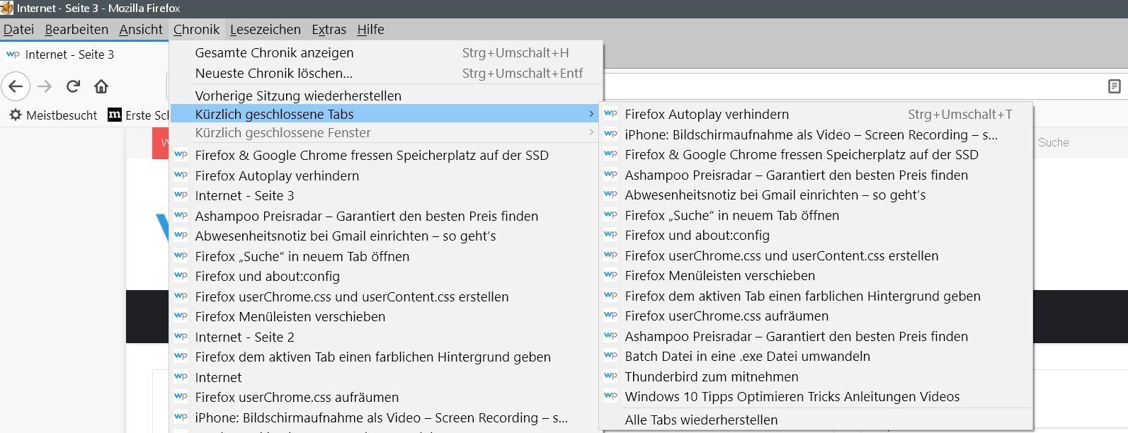 geschl. tabs 15 - Firefox Kürzlich geschlossene Tabs Vorschau erweitern oder deaktivieren