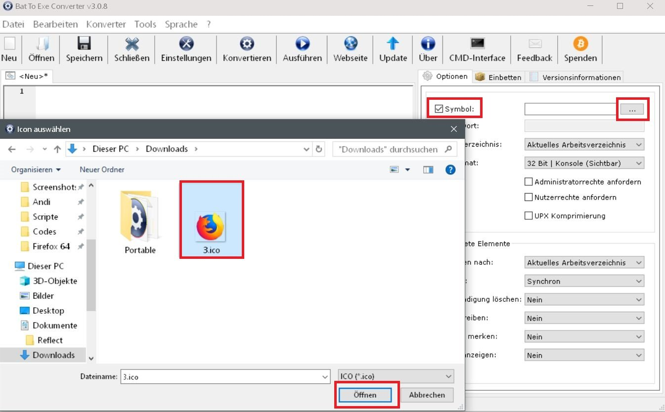 icon einfuegen - Batch Datei in eine .exe Datei umwandeln