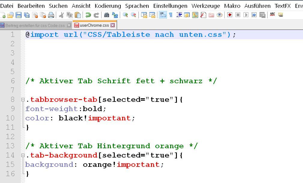 importregel in userchrome - Firefox  userChrome.css aufräumen