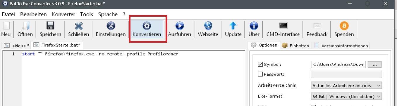 konvertieren - Batch Datei in eine .exe Datei umwandeln
