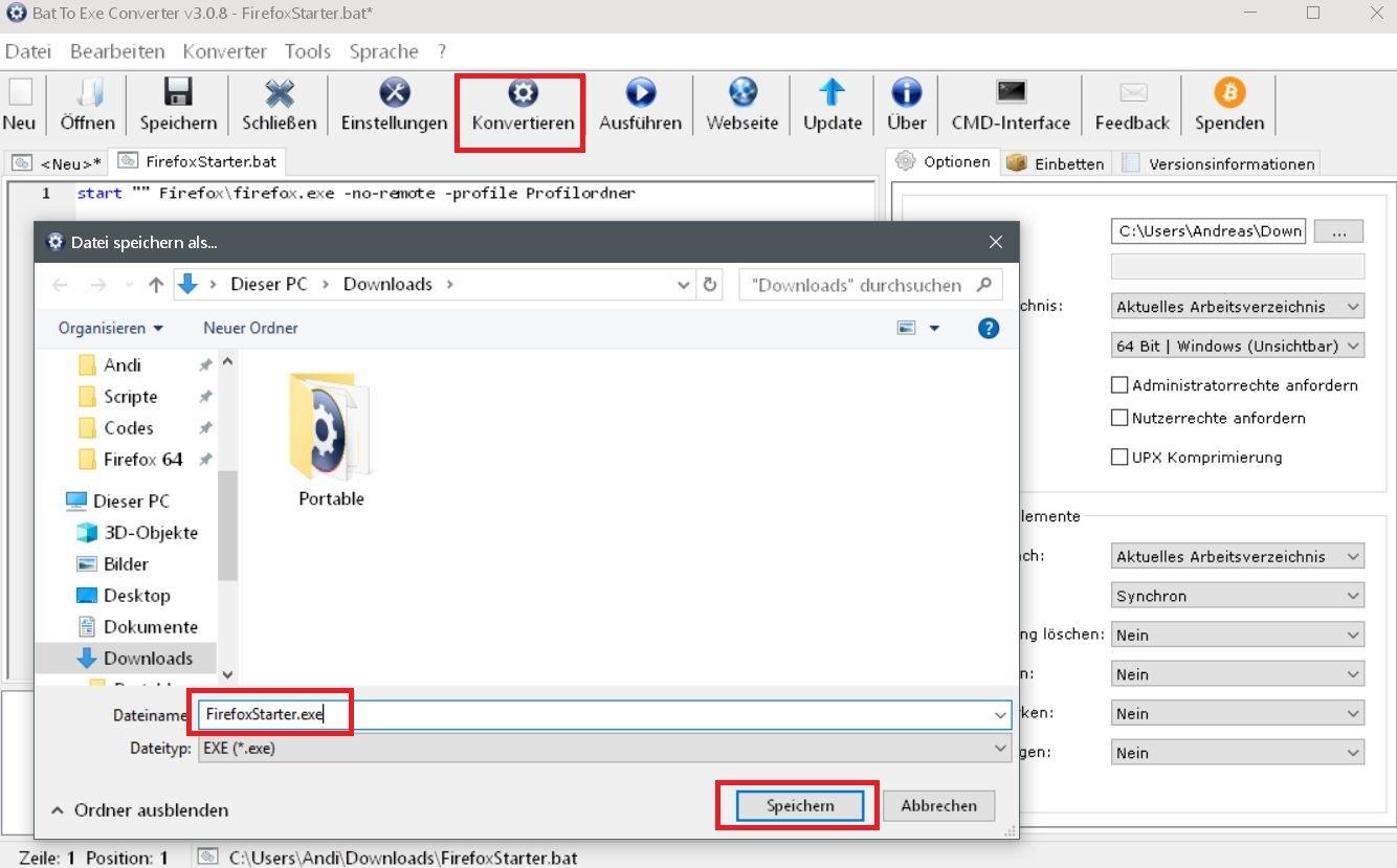 namen vergeben speichern - Batch Datei in eine .exe Datei umwandeln
