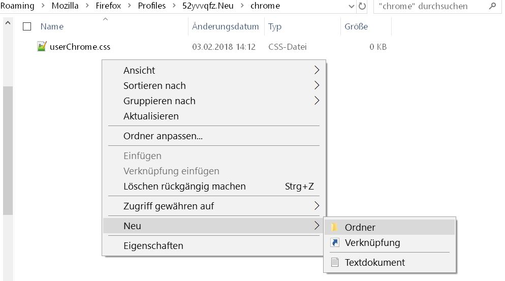 neuen ordner erstellen - Firefox  userChrome.css aufräumen