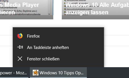 ohne eintraege - Firefox Tooltip beim Rechtsklick auf das Firefox Icon in der Taskleiste deaktivieren
