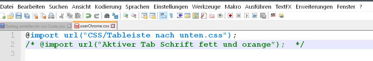 regel auskommentiert - Firefox  userChrome.css aufräumen