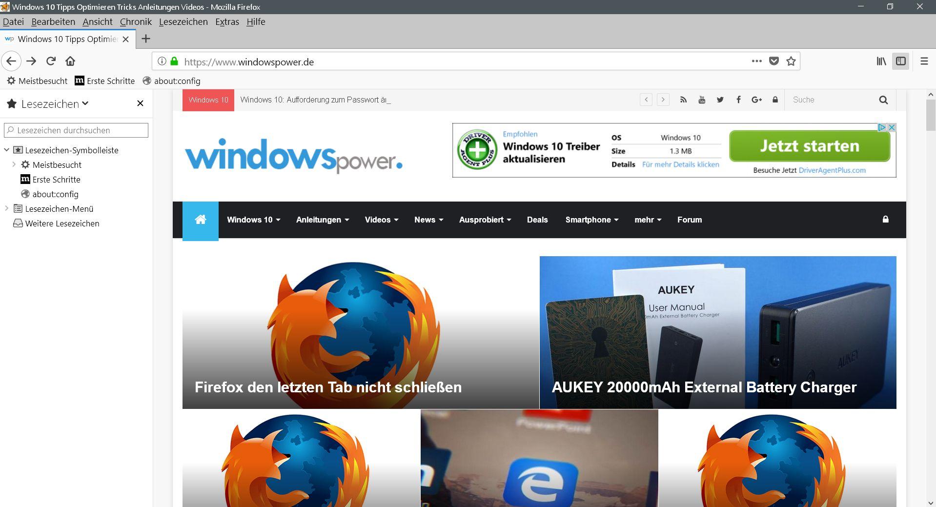 sidebar standard - Firefox  Sidebar per Maushover öffnen
