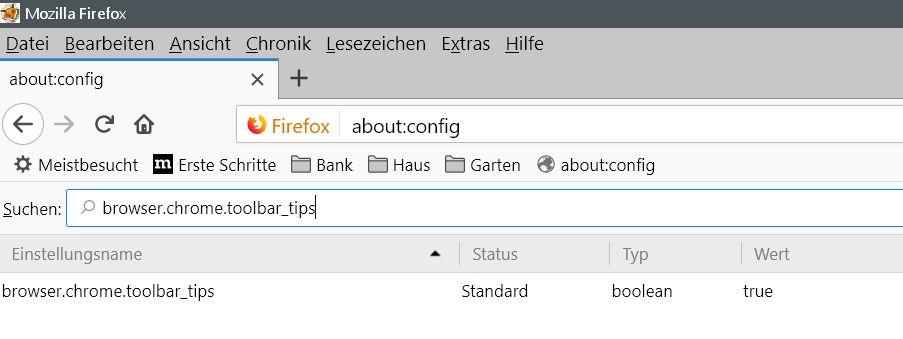 standardwert 1 - Firefox Tooltip im Rechtsklick Kontextmenü deaktivieren