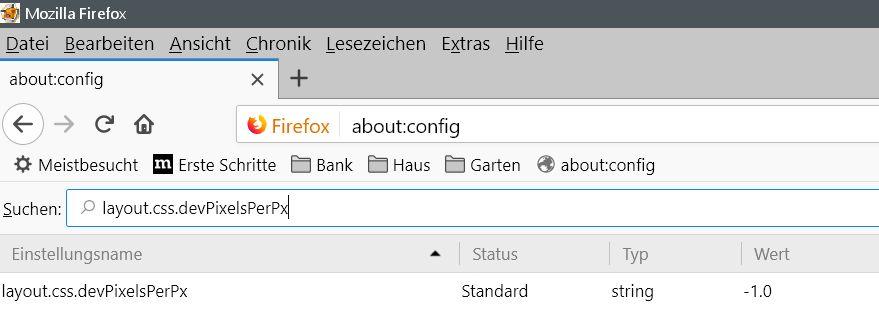 standardwert - Firefox die gesamte Schrift im Firefox vergrößern