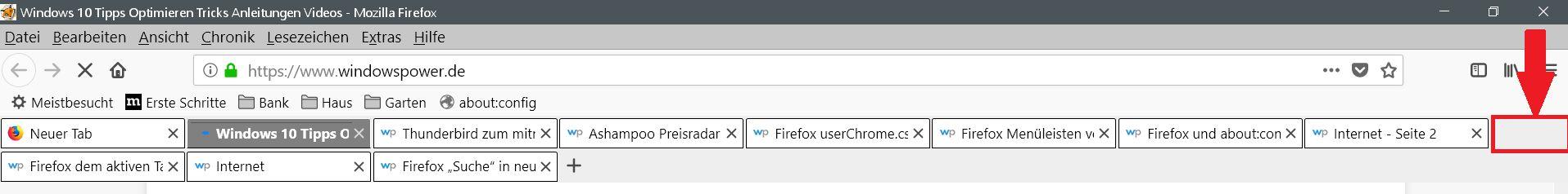 tababstand - Firefox Mehrzeilige Tableiste